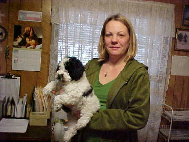Black/White Parti male Mini at 8 weeks with my Daughter, Trisha, Landyn's Mother